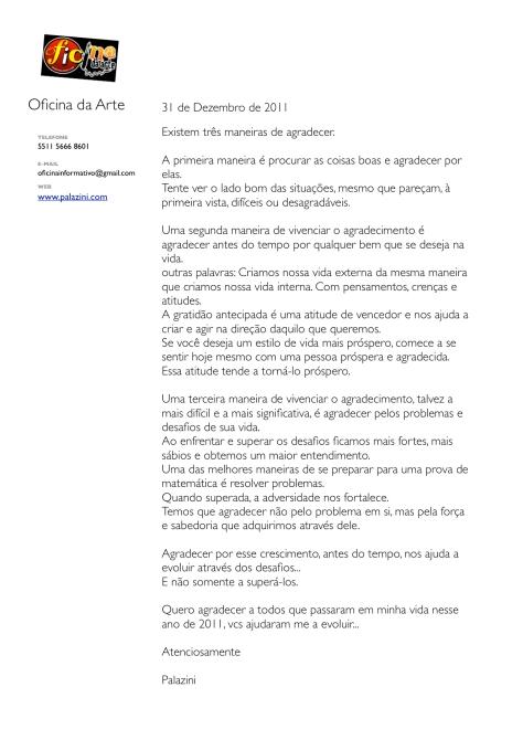 Carta de agradecimento ao Ano de 2011